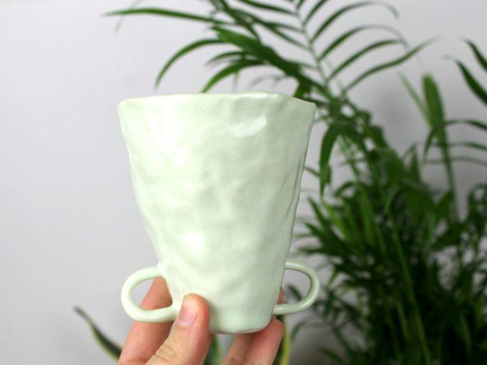 nice pear ceramics pinched green mug
